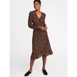 Old Navy autumn floral wrap cinched waist dress